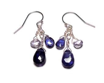 """INSIGHTFUL blue-purple Iolite Briolette 1-3/8"""" Sterling Silver Earrings E424a"""