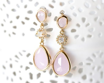 656_Pink teardrop earrings, Crystal dangle earrings, Blush gold earrings, Cubic zirconia earrings, Pink crystal earrings, CZ drop earrings.
