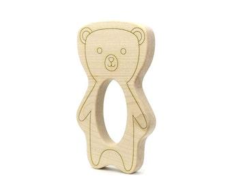 Teddy Bear Baby Teether - Waldorf Toys - Miniature Teddy Bear - Wooden Teether