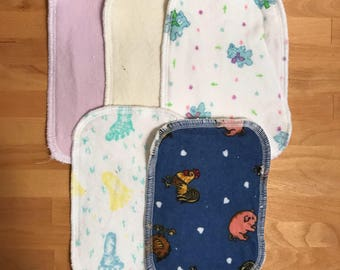 Flannel Diaper Wipes - Set of 4 - Reusable Wipes - Baby Wipes