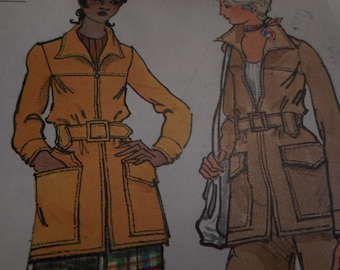 Vintage 1970's Vogue 8260 Jacket and Pants Sewing Pattern, Size 10, Bust 32 1/2