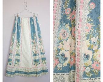 Vintage 1970's Floral + Lace Prairie Maxi Skirt M/L