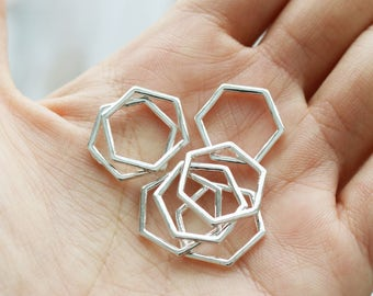 Set of 30, Honeycomb connector, Hexagon Charm, Silver Connector, Small Charm, 15mm Wide, Simple Charm, Minimalist Charm,