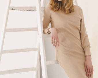 Brown organic cotton short sweater dress - Spring minimalist dress - Sustainable clothing,