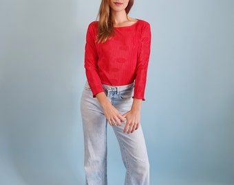 90s Vintage Bright Red Pleated Satin Top