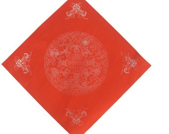 Chinese Calligraphy Material  34x34cm Red Xuan Paper Couplets / Square / Fish & Rich / 1 Piece - 0016C