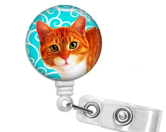 Orange Kitty Cat Badge reel, ID Badge holder, retractable badge reel
