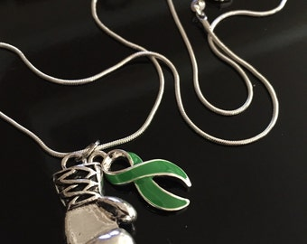 Boxing Glove / Fight - Green Ribbon Charm Necklace - Bipolar Disorder / Mental Illness - Kidney Cancer Awareness / Survivor, Gastroparesis