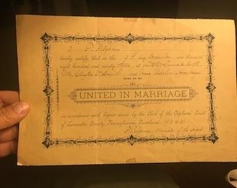 1893 Marriage License Lancaster County Pennsylvania . Vintage pa marriage license . Antique marriage license