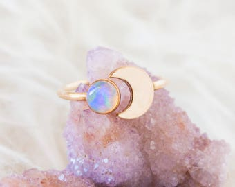 Gold opal ring. Opal and crescent ring. Gift for her. Gold crescent moon ring with opal. Opal moon ring. Open band adjustable opal ring.