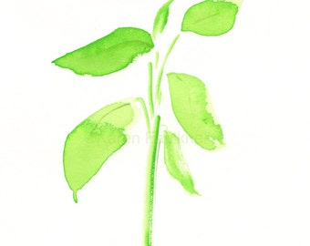 "Original watercolor painting of light green leaves: ""Greenery"""