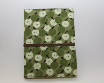 Notepad Organizer - Green Corduroy Apple Fabric (Notepad Included)