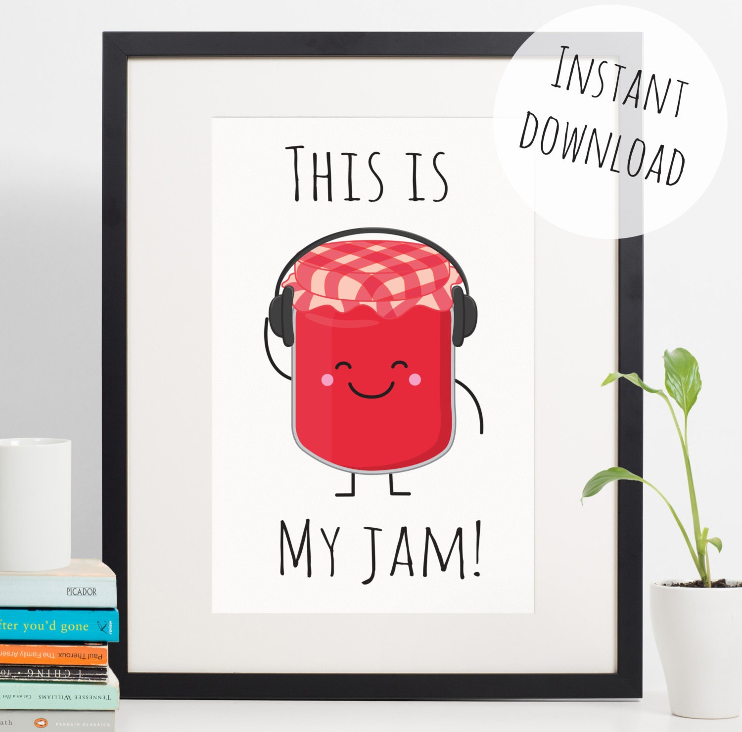 Kitchen Poster Food As Alphabet With Food Name: Food Pun 'This Is My Jam' Funny Kitchen Decor Instant