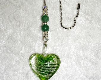 Glass Heart Fan Pull,  Ceiling Fan Pull,  Green Fan Pull,  Glass Fan Pull,  Murano Heart Fan Pull,  Fan Accessories,  Clearance