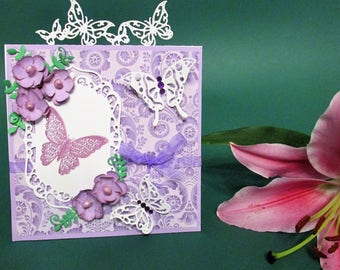 Handmade Birthday Card with Embellishments, Cherry Blossom, Greeting Card, Love Card, Thank You Card, Butterflies and Flowers, Purple Card