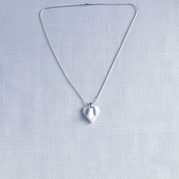 Work of HEART necklace, small white and silver