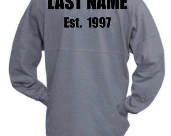 Personalized Pennant Billboard Crew Jersey ~ Custom Last Name Shirt ~ Custom Jersey ~ Monogrammed Spirit Shirt ~Oversized Shirt ~ Team Shirt