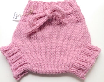 0-6 Months - Small Newborn Baby Pink Handknit Wool Soaker or Shorties with Knit Drawstring