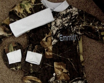 Personalized Mossy Oak Camo Camouflage 3PC Long sleeves Creeper onesie Baby Infant Newborn Set Boys Blue trim Coming Home outfit