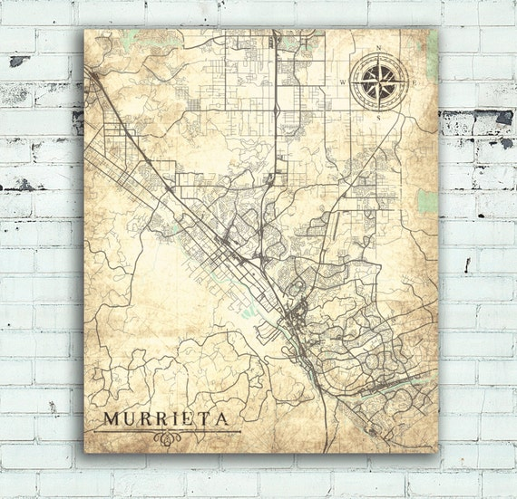 MURRIETA CA Canvas Print CA California Vintage map California