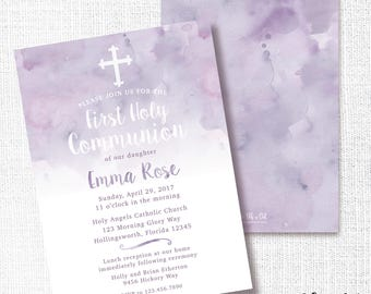 1st Communion Invitation, Printable, Purple First Girl Invite, Baptism, Christening, Naming Ceremony, Dedication, Modern, Watercolor, Cross