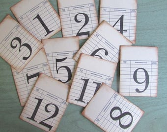 ONE Table Number Table Numbers Library Cards Vintage Wedding Table Decor