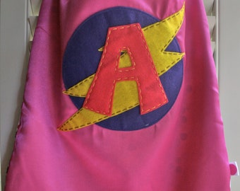 Girls Superhero Cape-Perfect Christmas Gift-PERSONALIZE/CUSTOMIZE PINK-Choose the Initial - Reversible - Superhero Birthdya Party