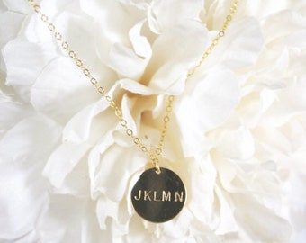 Personalized Stamped Gold Filled Circle Tag Necklace | Custom Jewelry | Hand Stamped Necklace