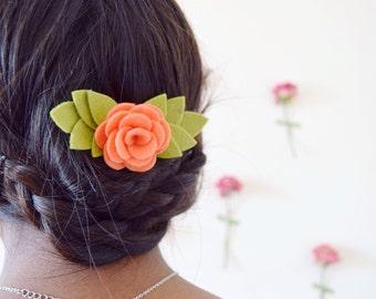 Coral flower hair pin | bridal and bridesmaids hair accessories | rustic leaf hair clip