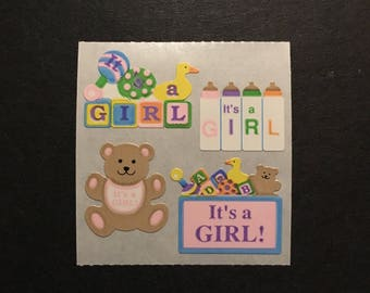 Sandylion vintage rare paper its a girl stickers