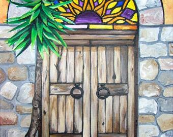 Mexican Door Painting (12×16) by Kelsey Rowland- fine art doors colorful & CreatedbyKelseyArt by CreatedbyKelseyArt on Etsy