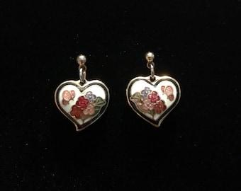 White Heart Cloissone Gold Tone Dangle Butterfly Earrings