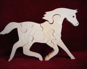 Pacing Horse (Morgan)  Puzzle, Unfinished Pine