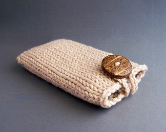 Smartphone Case Apple iPhone 4 to 7, 7 - 6/7 PLUS Samsung Galaxy s3 to s7 Knit Camel Coconut Button Beige Brown Woodland Harvest Sleeve Knit