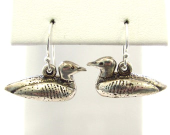 Vintage Sterling Silver Adorable Loon Dangly Earrings, Bird Jewelry
