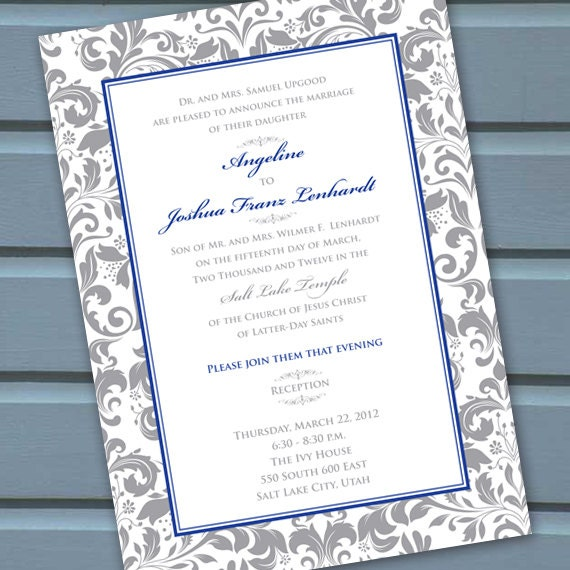 wedding invitations, bridal shower invitations, silver wedding invitations, silver bridal shower invitations, wedding shower invites, IN129