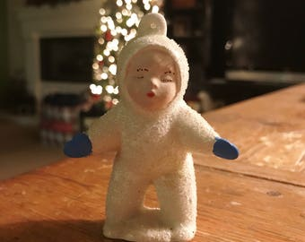 Vintage Snow Baby Ornament, Unmarked