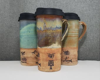 IN STOCK* Pottery Travel mug / Commuter mug with silicone lid - Acorn - Turquoise - Owls