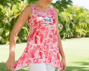 Tunic Legging Set Woman Fashion Plus Size Cotton Workout Top Maternity Tunic Hand Painted