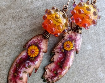 Beautiful Boho fire feather dangle earrings artisan handmade unique OOAK lampwork beads enamel glass findings modern art jewelry