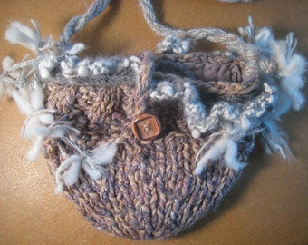 "Handspun Shoulder Bag, 'Lambie Stars' Wool Alpaca Angora Art Purse, Knit Purse, 9"" Wide, 6"" Tall, Strap 17"" Tall, Natural and Dyed Fibers"