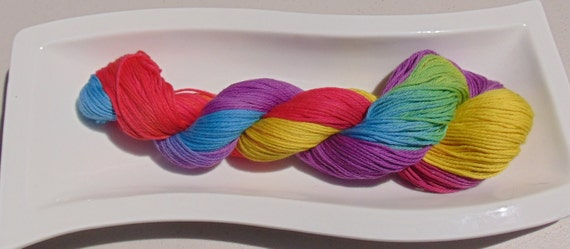 Not my Circus Not my Monkeys- 100 Organic Cotton, Hand Dyed Sport Weight Hand Painted Yarn