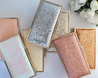 CLASSIC Sequin clutch - Large box clutch - Choose your color-Silver/White/Peach/Rainbow/Ivory/Navy/Blush/Champagne/Gold