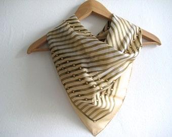 Vintage Scarf Stripe Buckles Cream Beige Silk Hand Printed Vintage Silk Scarf