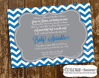 Baby Sprinkle Invitation, Baby Boy, Baby Shower, Sprinkle, Second Baby, Little Brother, Blue and Gray, Chevron - Digital File