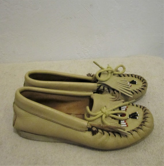 Colored NATIVE 60's Beige Women's MOCCASINS Beaded AMERICAN By 5 Vintage Minnetonka UqxwwICt4