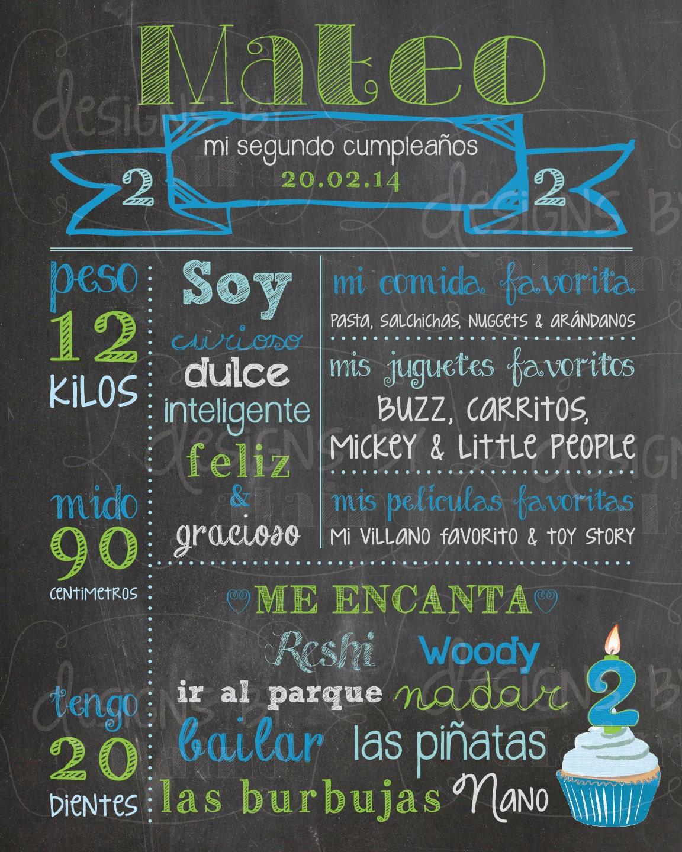 Español pizarra cumpleaños cartel señal memoria hitos 1 º