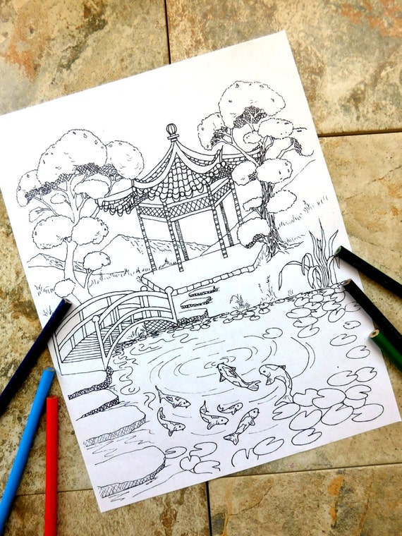Pagoda peces koi colorear páginas Laguna naturaleza