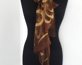 100% hand painted silk scarf