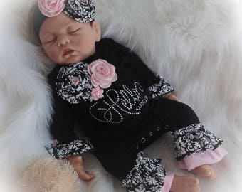 Hello World Coming Home Outfit, Hello World Newborn Ruffle Romper, Black and Pink Damask Ruffle Romper